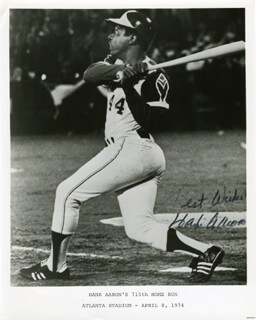HANK AARON - AUTOGRAPHED SIGNED PHOTOGRAPH CIRCA 1974