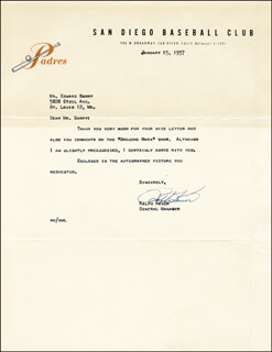 RALPH KINER - TYPED LETTER SIGNED 01/15/1957