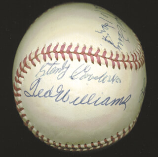 HALL OF FAME BASEBALL - AUTOGRAPHED SIGNED BASEBALL CO-SIGNED BY: WHITEY FORD, TED WILLIAMS, WAITE HOYT, ENOS SLAUGHTER, BROOKS ROBINSON, LLOYD LITTLE POISON WANER, EARL AVERILL SR., STAN COVELESKI, BUCK LEONARD, MONTE IRVIN, WILLIAM H. MEMPHIS BILL TERRY