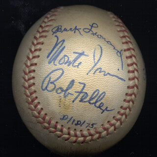 HALL OF FAME BASEBALL - AUTOGRAPHED SIGNED BASEBALL 08/18/1975 CO-SIGNED BY: JOCKO CONLAN, JUDY JOHNSON, BOB FELLER, CHARLIE GEHRINGER, BILLY HERMAN, EARL AVERILL SR., BUCK LEONARD, MONTE IRVIN