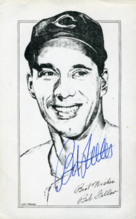 BOB FELLER - ILLUSTRATION SIGNED