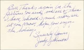 Autographs: JUDY JOHNSON - AUTOGRAPH NOTE SIGNED