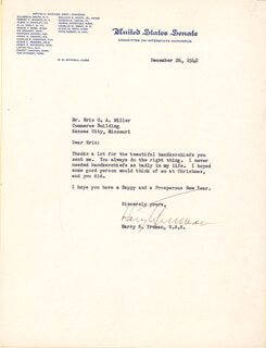 PRESIDENT HARRY S TRUMAN - TYPED LETTER SIGNED 12/26/1942