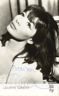 JULIETTE GRECO - PICTURE POST CARD SIGNED