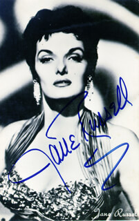 JANE RUSSELL - PICTURE POST CARD SIGNED