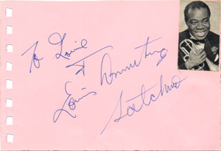 Autographs: LOUIS SATCHMO ARMSTRONG - INSCRIBED SIGNATURE CO-SIGNED BY: KIM NOVAK