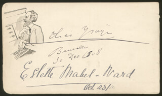THEO (THEOPHILE) YSAYE - SELF-CARICATURE SIGNED CO-SIGNED BY: SIR ALEXANDER C. MACKENZIE, ESTELLE MABEL-WARD