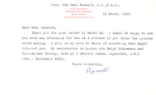 Autographs: BERTRAND RUSSELL - TYPED LETTER SIGNED 03/16/1965