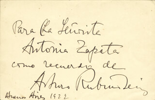 ARTHUR RUBINSTEIN - INSCRIBED SIGNATURE 1922