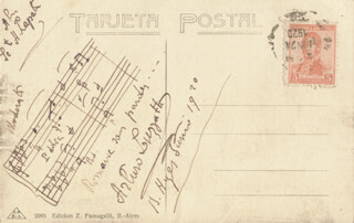 ARTURO LUZZATTI - INSCRIBED AUTOGRAPH MUSICAL QUOTATION SIGNED 1920