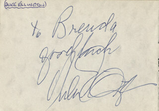 DUKE ELLINGTON - AUTOGRAPH NOTE SIGNED CO-SIGNED BY: REG VARNEY