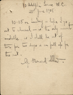 GEORGE BERNARD SHAW - AUTOGRAPH LETTER SIGNED 06/21/1908
