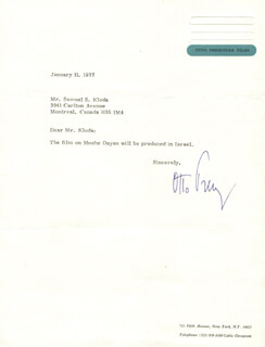 OTTO PREMINGER - TYPED LETTER SIGNED 01/11/1977