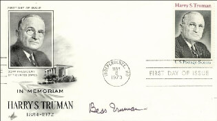 FIRST LADY BESS W. TRUMAN - FIRST DAY COVER SIGNED