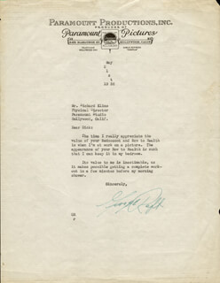 GEORGE RAFT - TYPED LETTER SIGNED 05/21/1936