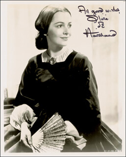 OLIVIA DE HAVILLAND - AUTOGRAPHED INSCRIBED PHOTOGRAPH