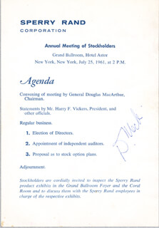 Autographs: GENERAL DOUGLAS MACARTHUR - PROGRAM SIGNED CIRCA 1961