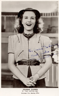DEANNA DURBIN - INSCRIBED PICTURE POSTCARD SIGNED