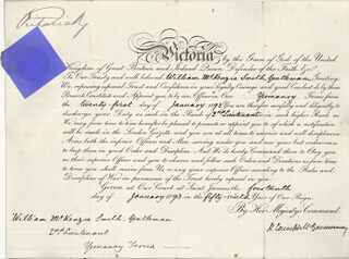 Autographs: QUEEN VICTORIA (GREAT BRITAIN) - MILITARY APPOINTMENT SIGNED 01/14/1893 CO-SIGNED BY: PRIME MINISTER HENRY CAMPBELL-BANNERMAN (GREAT BRITAIN)
