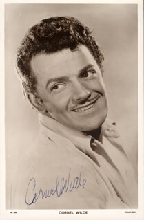 CORNEL WILDE - PRINTED PHOTOGRAPH SIGNED IN INK