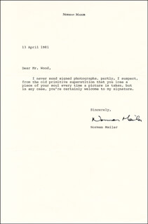 NORMAN MAILER - TYPED LETTER SIGNED 04/13/1981