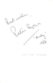 Autographs: PETER BYRNE - PHOTOGRAPH SIGNED 1968