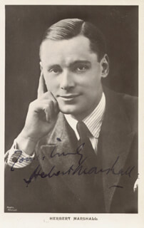 HERBERT MARSHALL - PRINTED PHOTOGRAPH SIGNED IN INK