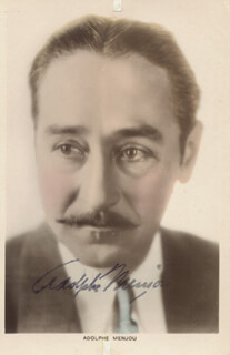 ADOLPHE MENJOU - PICTURE POST CARD SIGNED