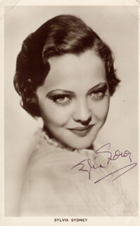 SYLVIA SIDNEY - PRINTED PHOTOGRAPH SIGNED IN INK