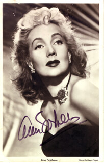 ANN SOTHERN - PICTURE POST CARD SIGNED