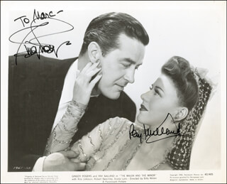 MAJOR AND THE MINOR MOVIE CAST - INSCRIBED PRINTED PHOTOGRAPH SIGNED IN INK CO-SIGNED BY: RAY MILLAND, GINGER ROGERS