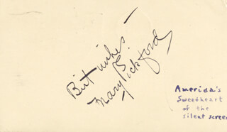 Autographs: MARY PICKFORD - AUTOGRAPH SENTIMENT SIGNED CIRCA 1943