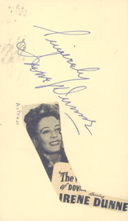 IRENE DUNNE - AUTOGRAPH SENTIMENT SIGNED