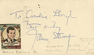 JAMES JIMMY STEWART - INSCRIBED POST CARD SIGNED CIRCA 1947