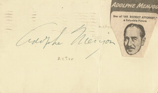 ADOLPHE MENJOU - POST CARD SIGNED CIRCA 1946