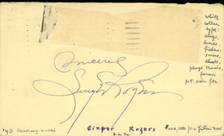 GINGER ROGERS - POST CARD SIGNED CIRCA 1943