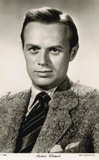 RICHARD WIDMARK - INSCRIBED PICTURE POSTCARD SIGNED