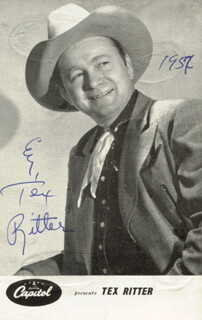 TEX RITTER - AUTOGRAPHED SIGNED PHOTOGRAPH 1957