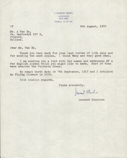 CAPTAIN G. LEONARD CHESHIRE - TYPED LETTER SIGNED 08/04/1970