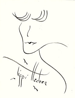 TIPPI HEDREN - SELF-CARICATURE SIGNED