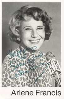 ARLENE FRANCIS - INSCRIBED PICTURE POSTCARD SIGNED