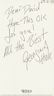 GEORGINA HALE - AUTOGRAPH NOTE SIGNED 02/27/1981
