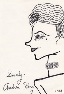 ANDREA KING - SELF-CARICATURE SIGNED 1983