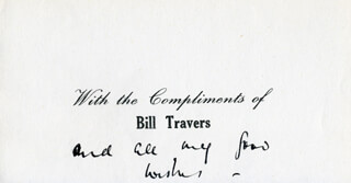 BILL TRAVERS - ANNOTATED PRINTED NOTE UNSIGNED