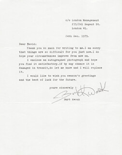 BURT KWOUK - TYPED LETTER SIGNED 12/24/1979