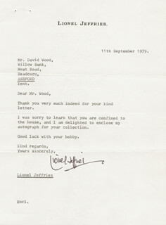 LIONEL JEFFRIES - TYPED LETTER SIGNED 09/11/1979