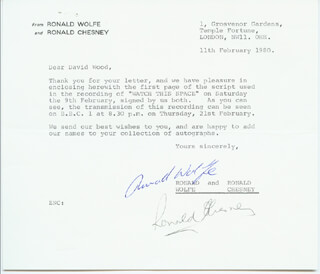 WATCH THIS SPACE TV CAST - TYPED LETTER SIGNED 02/11/1980 CO-SIGNED BY: RONALD CHESNEY, RONALD WOLFE