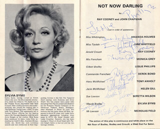 Autographs: NOT NOW DARLING PLAY CAST - PROGRAM SIGNED CIRCA 1979 CO-SIGNED BY: JUNE WHITFIELD, DEREK BOND, AMANDA HOLMES, RAY COONEY, MONICA GREY, TONY ANHOLT, HELEN GILL, SERETTA WILSON, NICHOLAS FIELD, SYLVIA SYMS, LESLIE PHILLIPS