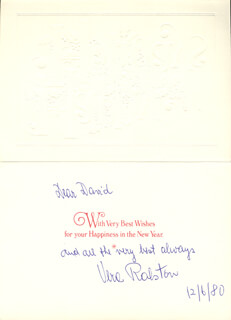 VERA H. RALSTON - INSCRIBED CHRISTMAS / HOLIDAY CARD SIGNED 12/06/1980