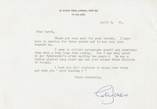 PETER JONES - TYPED LETTER SIGNED 04/09/1981